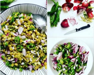 salade pois cassés oignon piment