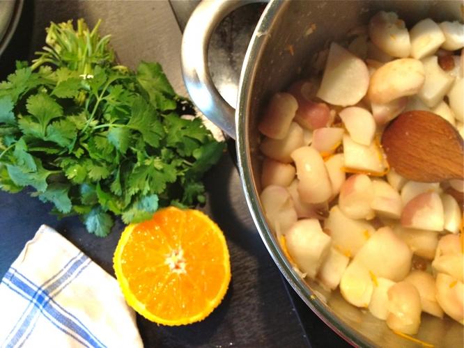 Navets orange et raisins